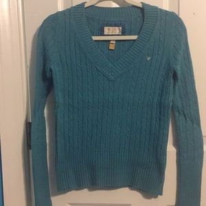American Eagle Outfitters Teal V-Neck Sweater